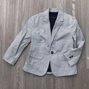 Navy Pinstriped Blazer